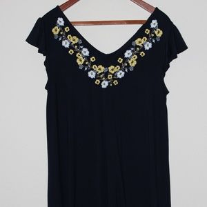 Loft Navy Swing Dress